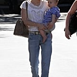January Jones walked through a parking lot in Pasadena with Xander Jones.