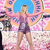 Taylor Swift Wearing Sequinned Shorts and a Pink Sheer Button Down on Good Morning America