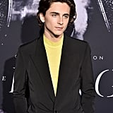 Timothée's neon yellow mockneck shirt offered a pop of colour to the Givenchy suit he wore to the New York premiere of The King.