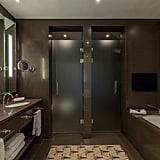 There's a separate shower and toilet within the bathroom.