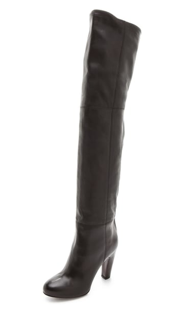 Looking for a pair of over-the-knee boots? These Vince black leather over-the-knee boots ($613, originally $875) are just perfect.