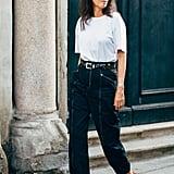 Belt a white tee, denim, and heels — yep, it's that simple.