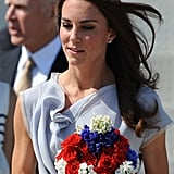 Kate Middleton clutched an America-themed bouquet.