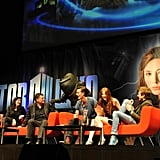 Producers Caroline Skinner and Steven Moffatt join Matt Smith, Karen Gillan, and Arthur Darvill on stage for a Q&A session. They were scared by a costumed Judoon during the panel. Photo: Doctor Who Facebook, Alexandra Thompson