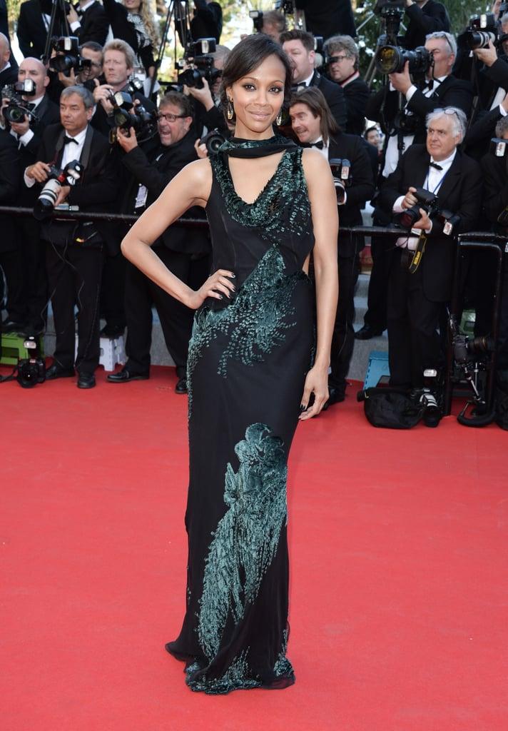 Zoe Saldana wore a green and black Jason Wu dress to the Mr. Turner red carpet.