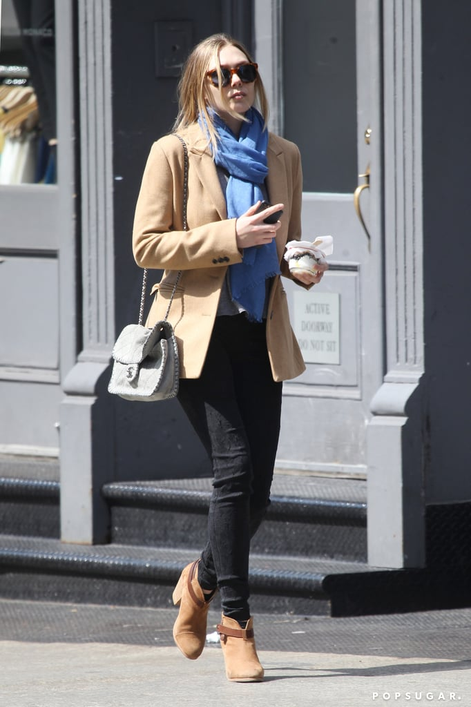 Elizabeth Olsen was on the move in NYC on Monday.