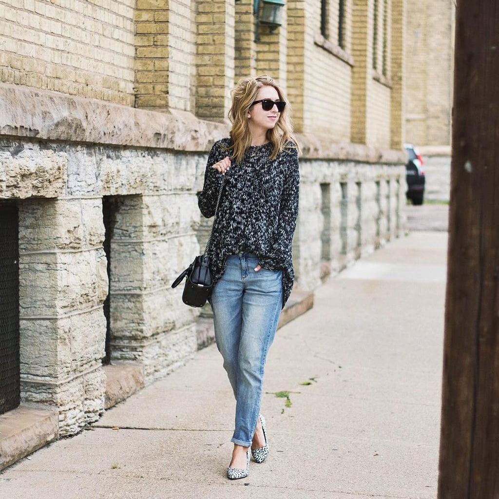 A Gray Sweater, Boyfriend Jeans, and Spotted Flats