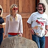 Kate Hudson and Kurt Russell laughed at a winery in Santa Barbara, CA.