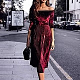 Leezeshaw Off-Shoulder Velvet Pleated Dress