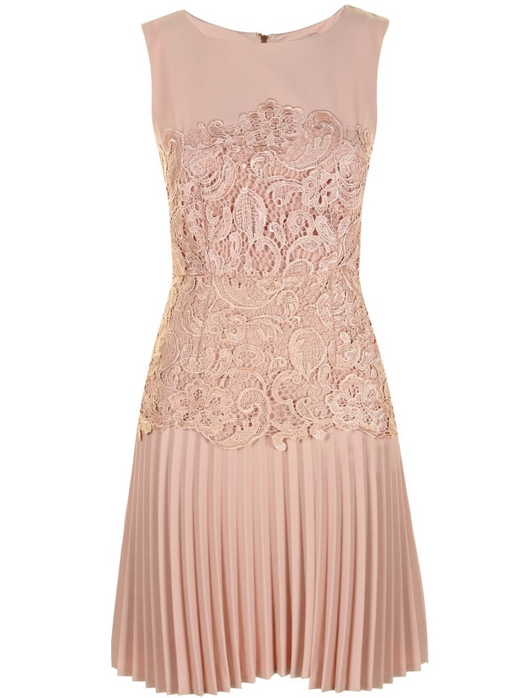 Darling nude pleated lace panel dress (£39, originally £55)