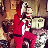 Cara Delevingne made a pretty convincing Santa Claus. Source: Instagram user caradelevingne