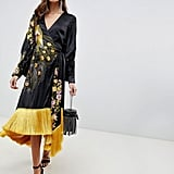 ASOS Design Kimono Midi Dress With Fringe in Embroidered Satin Peacock