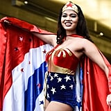 One can never go wrong with Wonder Woman! We like how this cosplayer opted for a more muted red pout to let her costume shine.