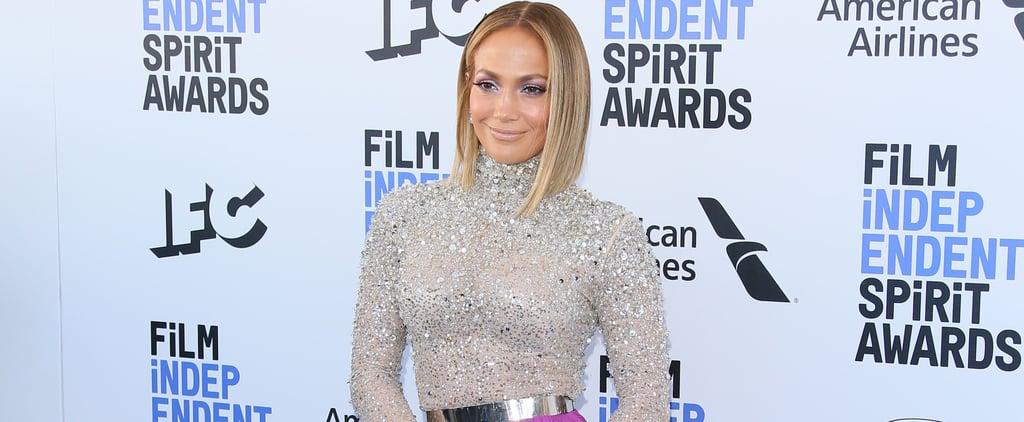 Jennifer Lopez's Rhinestone Bodysuit and Purple Pants