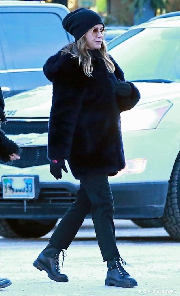 Jennifer Aniston Black Combat Boots Popsugar Fashion