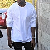 Kanye West was in a white tee.
