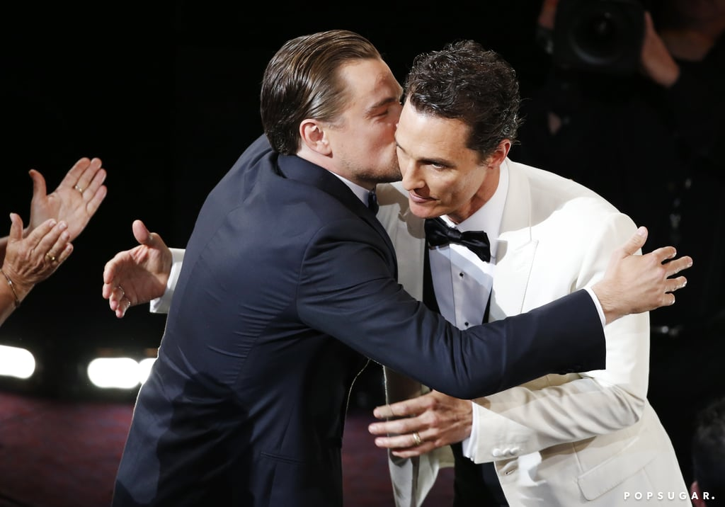 Fellow nominee Leonardo DiCaprio congratulated Matthew McConaughey on his best actor win with a kiss.