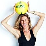 Gisele Bündchen posed with a Brazilian soccer ball. Source: Instagram user giseleofficial