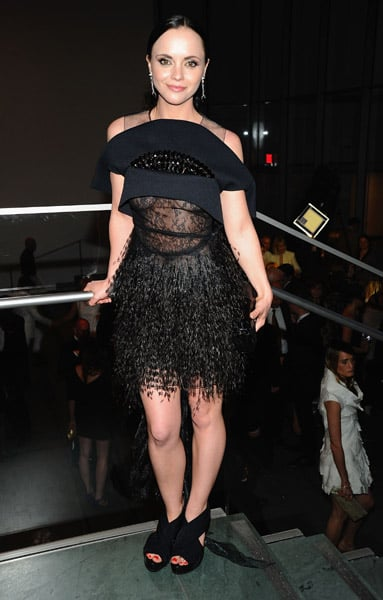 Christina Ricci joined the festivities in a feathered frock from Fall '10. Is that reverse cleavage I peep?