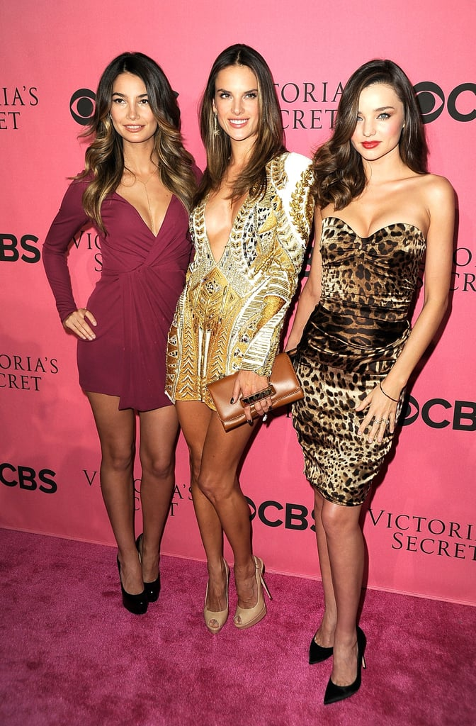 Lily Aldridge, Alessandra Ambrosio, and Miranda Kerr stepped out on the pink carpet together.