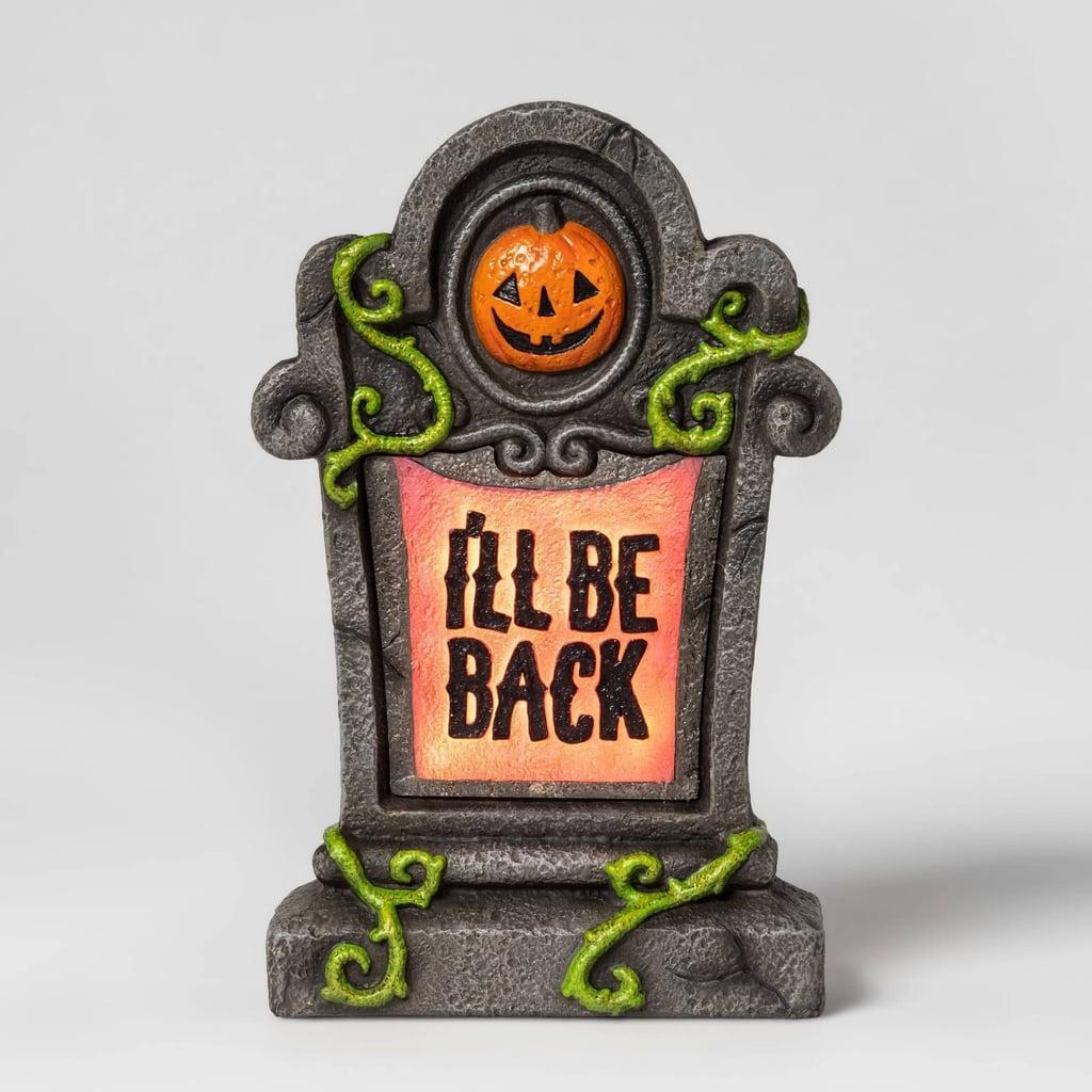 Lit I'll Be Back Halloween Tombstone