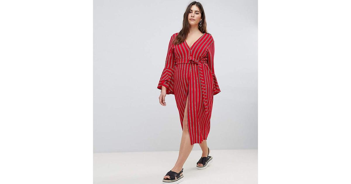 08c30873fd8 Boohoo Tie-Waist Stripe Midi Dress