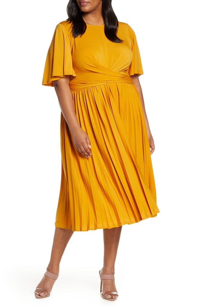 ELOQUII Wrap Waist Jersey Midi Dress
