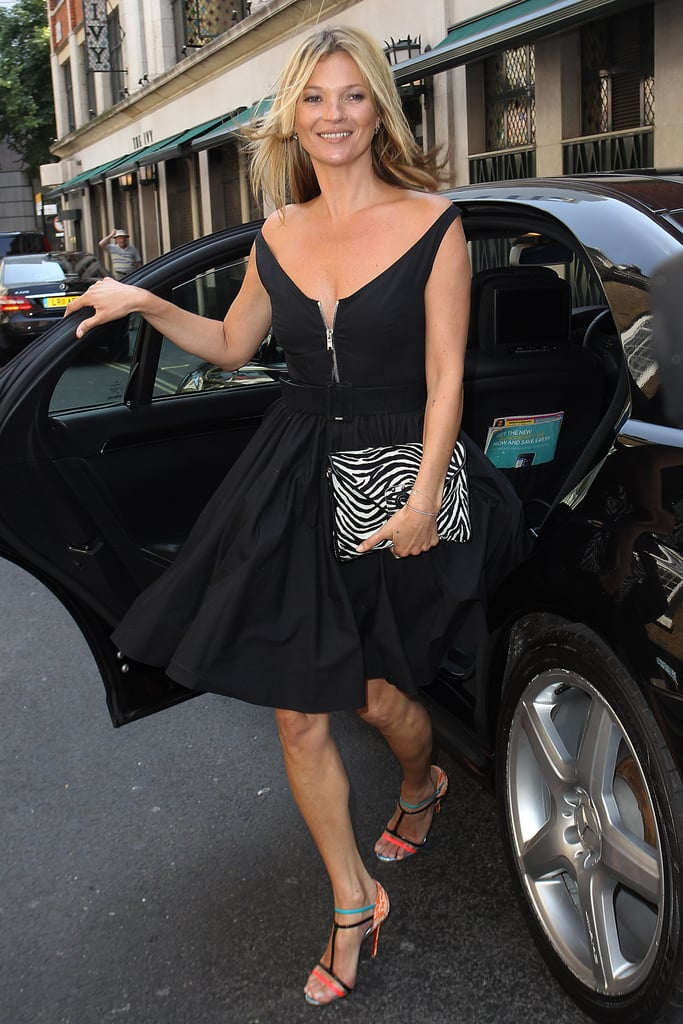 Kate Moss arrived for a sneak peek at her designs at The Ivy Club in London.