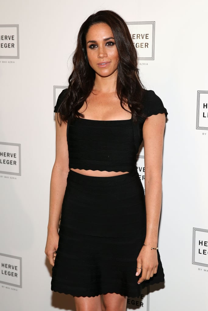 Suits star Meghan Markle posed backstage at Saturday's Hervé Léger show.