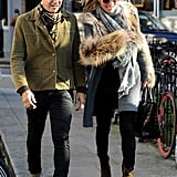 Jamie Hince and Kate Moss strolled in London.