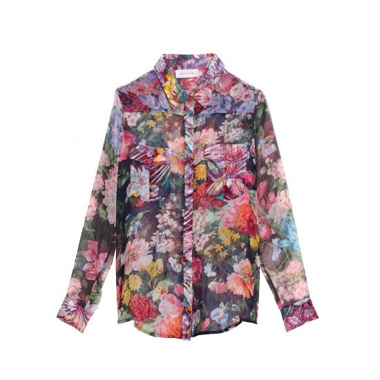 Try: A sheer blouse is a sexier way to wear this fun floral print. Wear it with: A skater-style skirt or high waisted short and sandales. Extra points if you don a black lacy bra underneath. Buy: Shirt, $395, Zimmermann