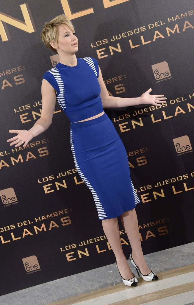 Jennifer Lawrence got animated during her photocall.