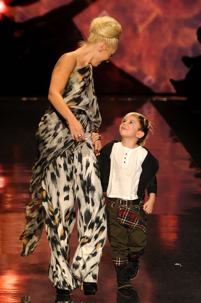 Gwen Stefani held her son Kingston Rossdale's hand last night following her L.A.M.B. presentation during Fashion Week in NYC. The designer has been in the Big Apple for the last few days, and her recent outing in head-to-toe plaid may have been a hint about the creations she sent down the runway. Her latest collection was full of the print, in addition to patterns inspired by rasta culture and London in the '60s. Kingston is veteran of the shows at this point, as he checked out Edun with his dad Gavin last season. He was also there for Gwen's 2011 Spring/Summer show, when he hopped out of his seat to personally congratulate his mom. Gavin wasn't in the front row this time, but Gwen's father Dennis was there to proudly cheer her on.
