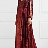 Jenny Packham Aries Satin-Trimmed Sequinned Gown