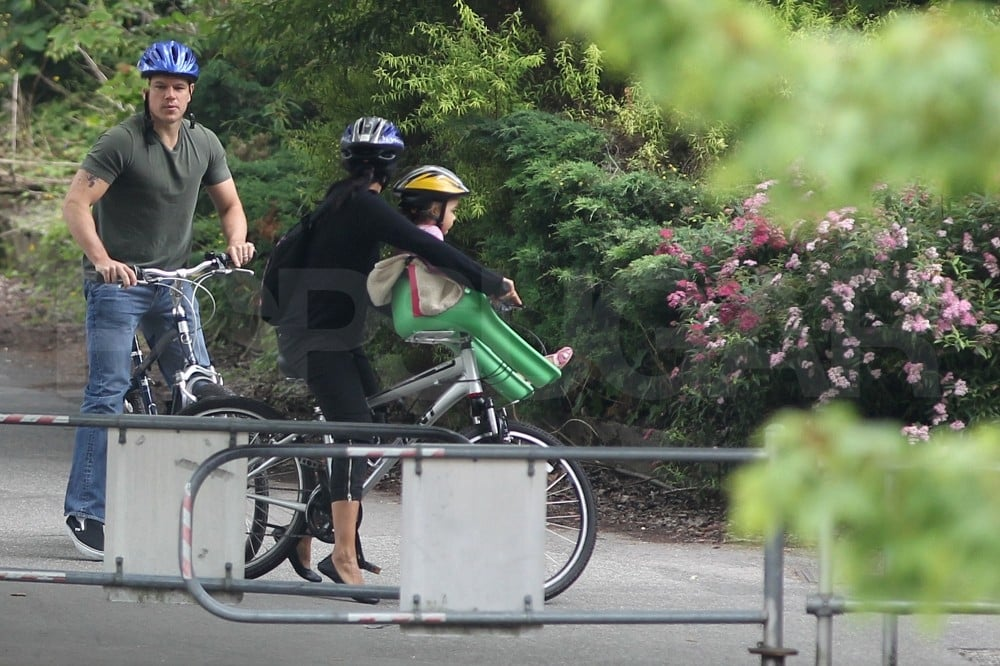 Matt joined his wife and daughters on a bike ride.