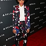 Solange Knowles struck a pose in a cropped splatter-print Diane von Furstenberg pantsuit at a pre-Grammy party in LA. Dainty ankle-strap sandals, a sequined cobalt Jimmy Choo clutch, and a few statement rings took her eye-catching ensemble to new heights.