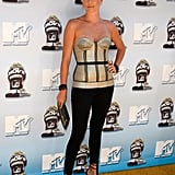 Charlize Theron rocked a bustier top and tight black pants at the MTV Movie Awards in June 2008.