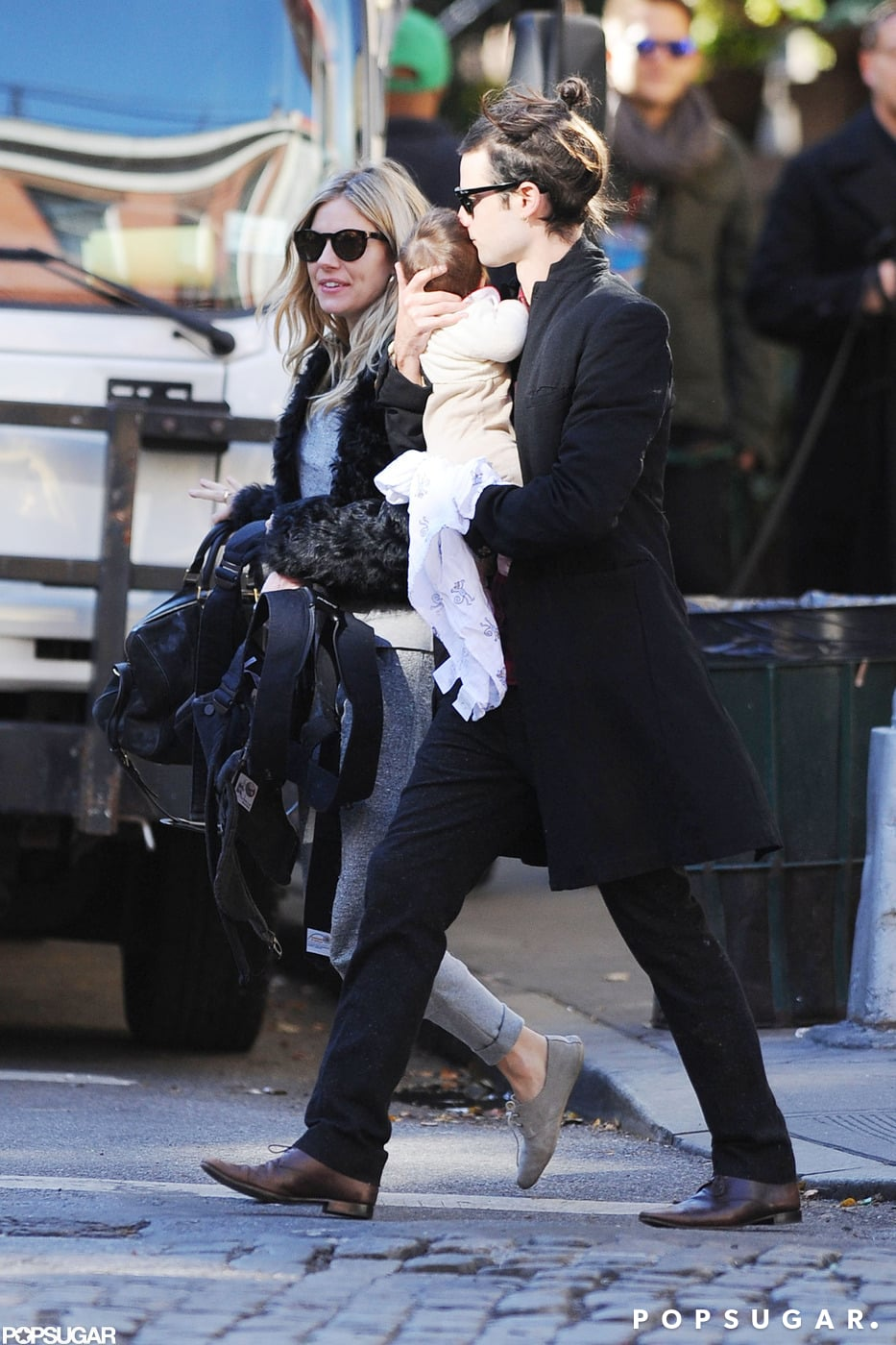 Fresh-Faced Tom Sturridge Joins Sienna and Marlowe For a Family Stroll