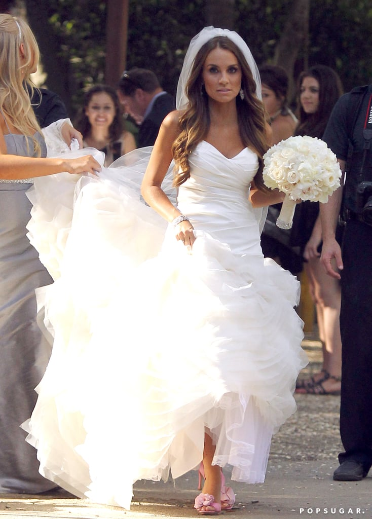 Angela Stacy carried a white bouquet.