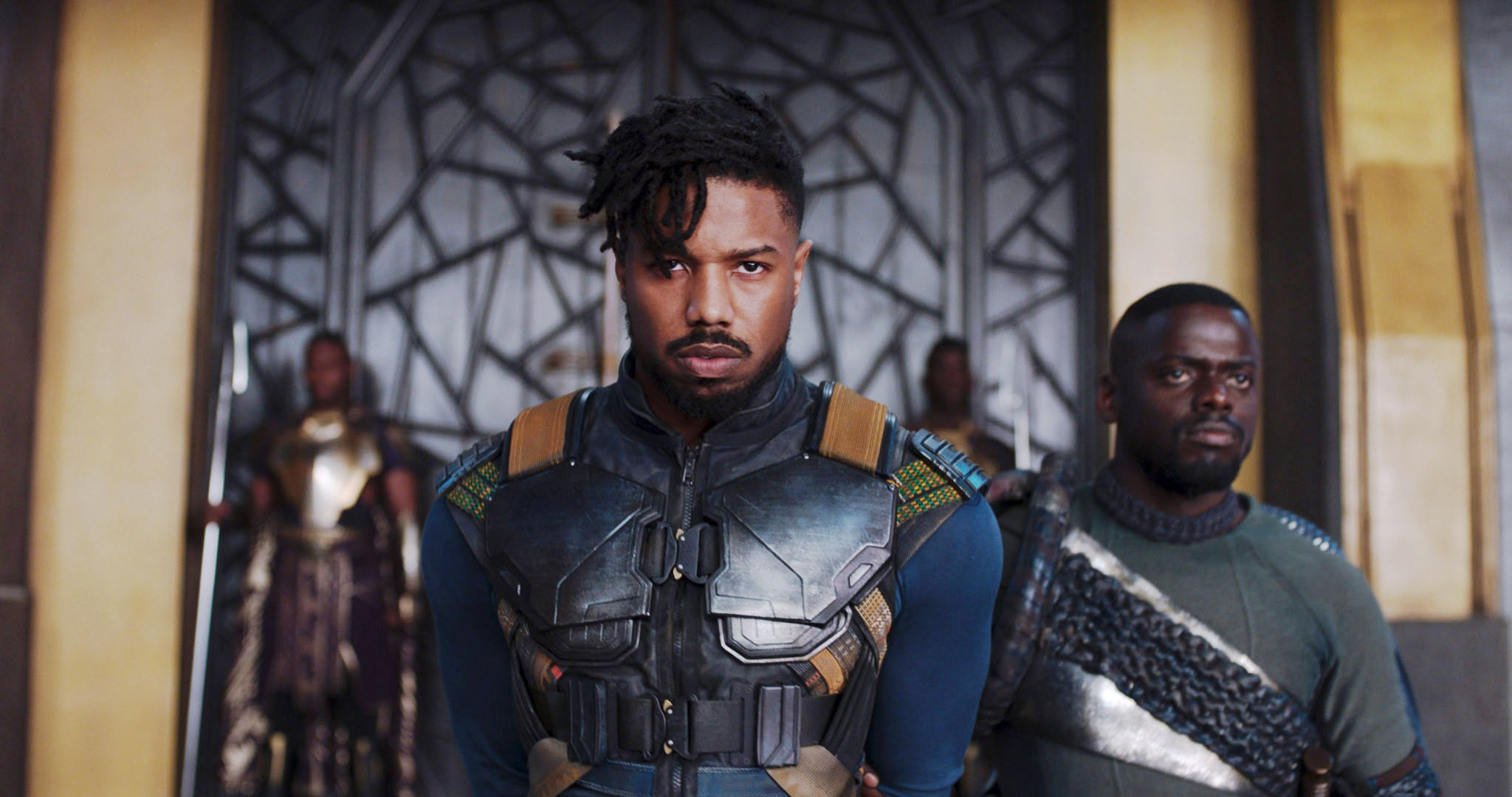 BLACK PANTHER, from left: Michael B. Jordan, Daniel Kaluuya, 2018.  Marvel /  Walt Disney Studios Motion Pictures /Courtesy Everett Collection