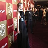 Rosie Huntington-Whiteley wore a sexy black gown for the InStyle party. Source: Twitter user Modelinia
