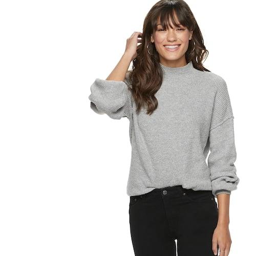 POPSUGAR Balloon-Sleeve Funnel-Neck Sweater in Heather Gray