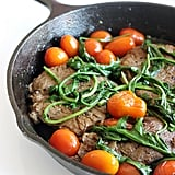 Sautéed Steaks With Tomato Pan Sauce and Wilted Arugula