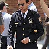 Justin Theroux donned a police lieutenant uniform for The Leftovers in NYC on Monday.