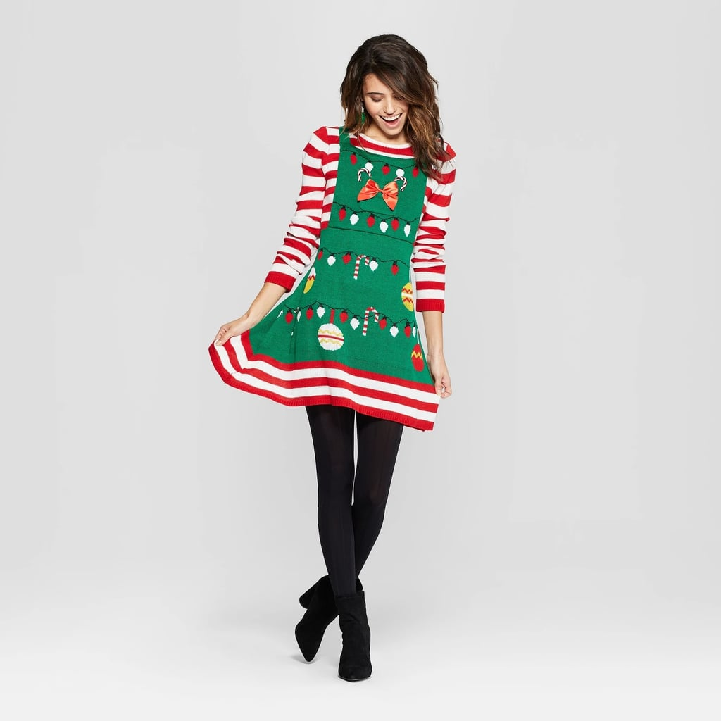 6da2df83fca6 Women's Ugly Christmas Candy Cane Striped Dress | Ugly Christmas ...