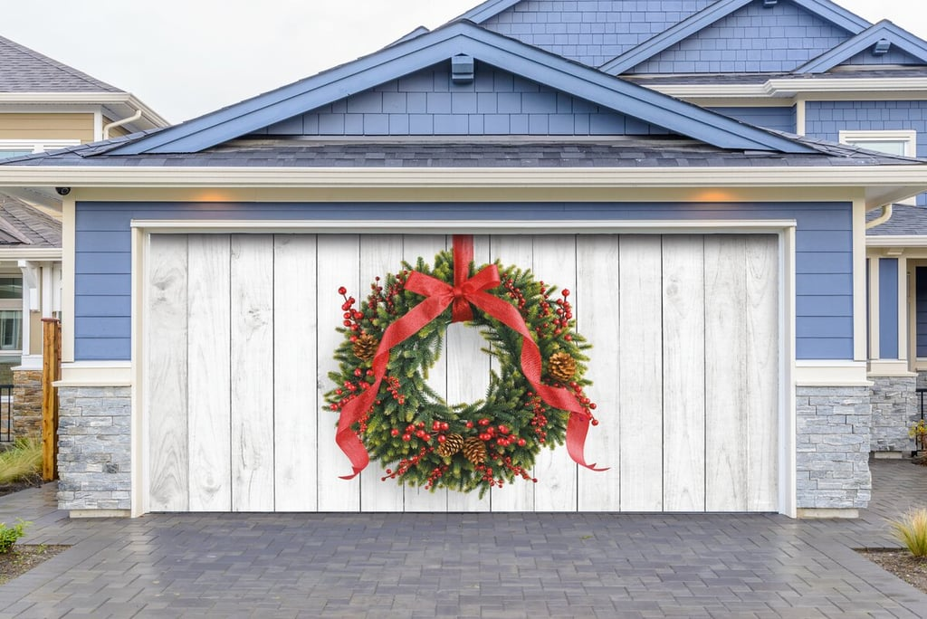 The Holiday Aisle Christmas Wreath Garage Door Banner