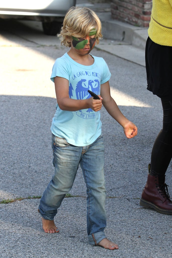 Kingston Rossdale got his face painted in camouflage at a birthday party in LA with mom Gwen Stefani.