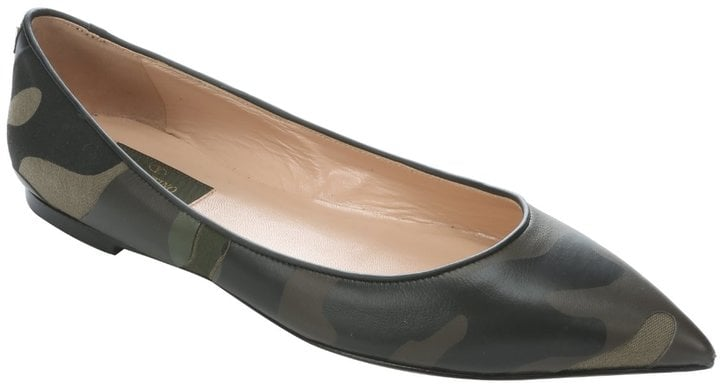 Valentino Military Green Leather And Fabric Ballerina Flats ($1,095)