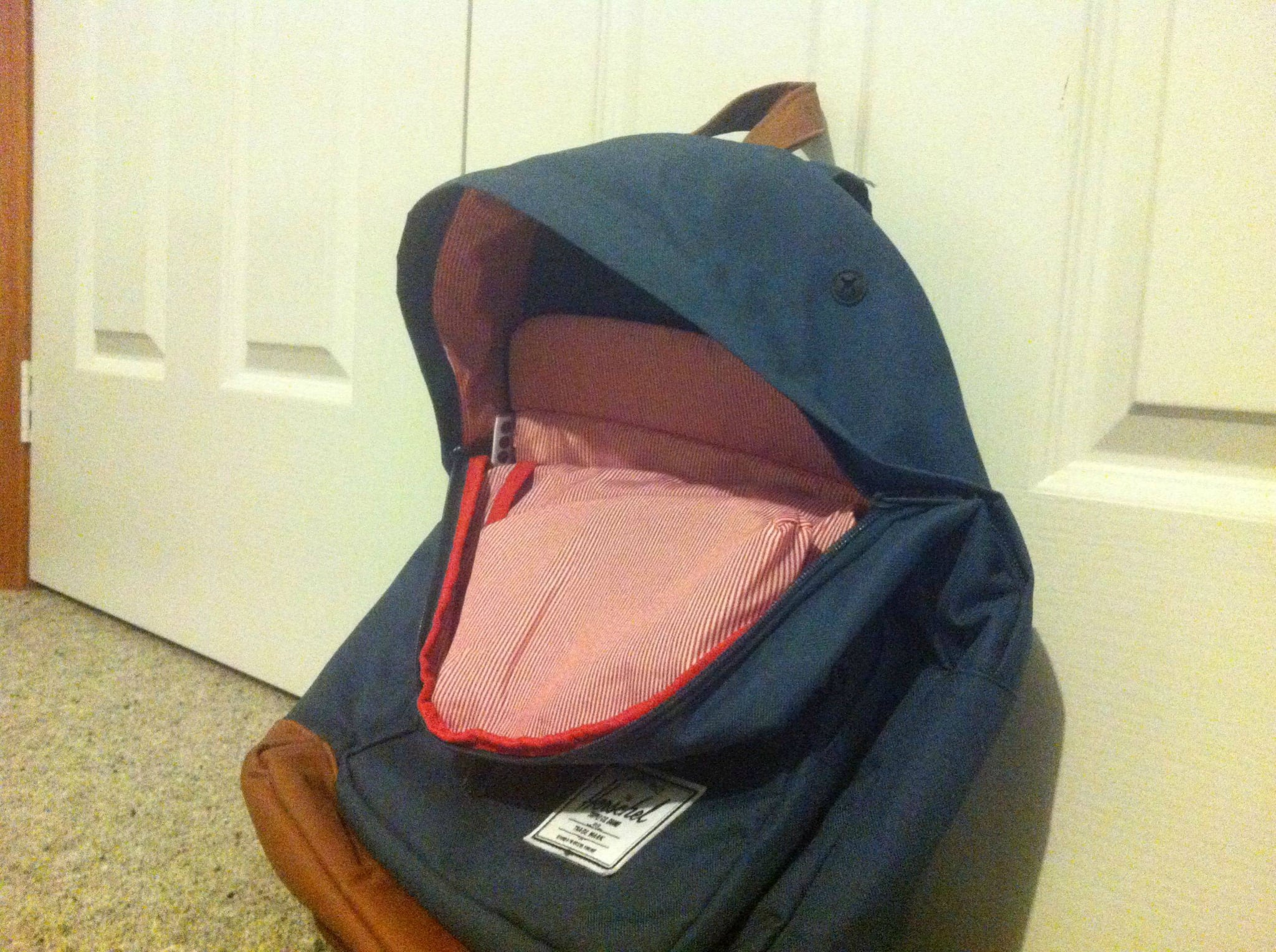 """""""Just realised my open bag looks like a happy whale. My life is now complete."""" Source: Reddit user MrPatch97 via Imgur"""