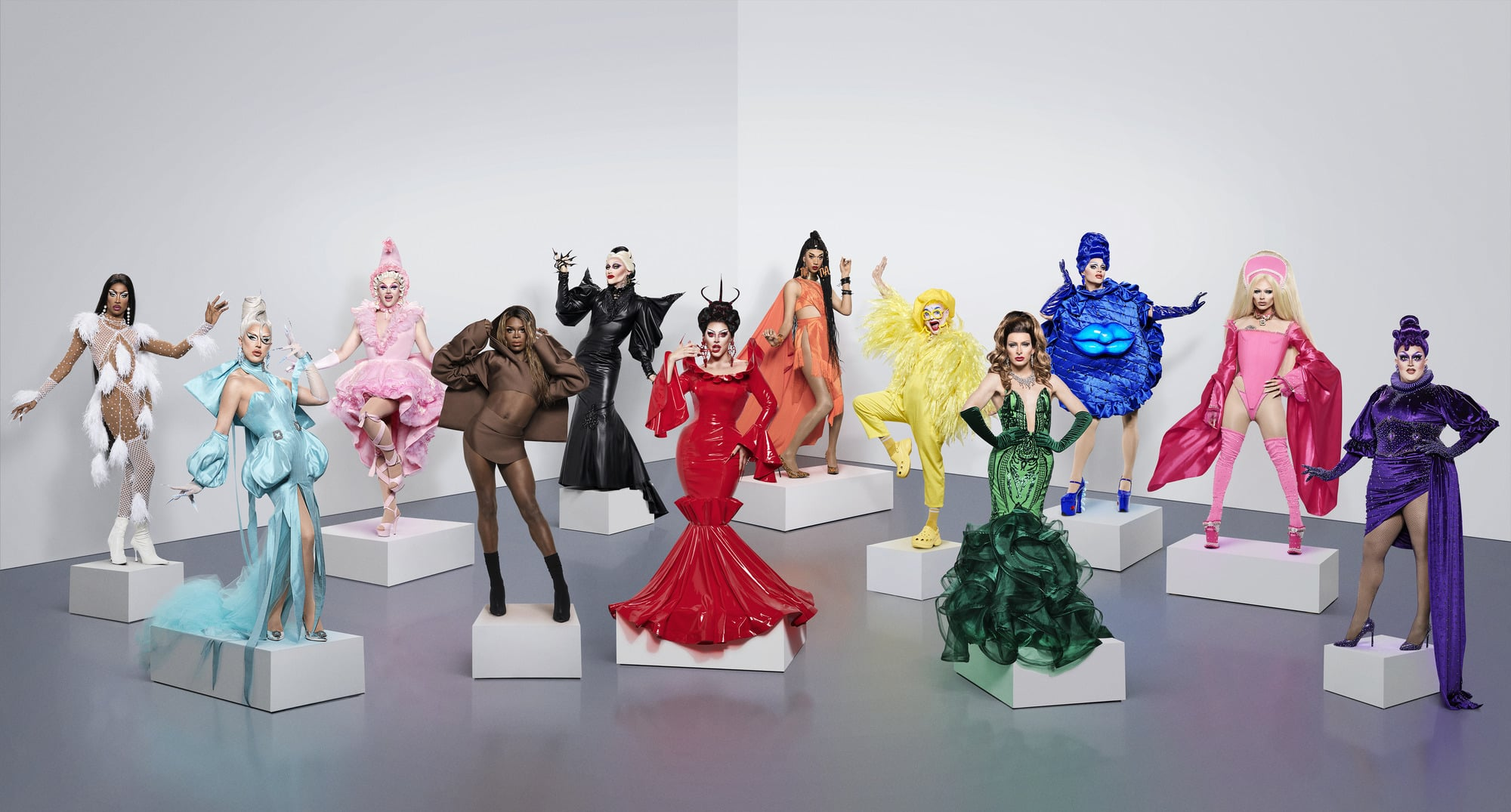 WARNING: Embargoed for publication until 09:00:00 on 16/12/2020 - Programme Name: RuPaul's Drag Race UK series 2 - TX: n/a - Episode: RuPaul's Drag Race UK series 2 generics (No. n/a) - Picture Shows:  Tayce, A'Whora, Ellie Diamond, Asttina Mandella, Joe Black, Cherry Valentine, Tia Kofi, Ginny Lemon, Veronica Green, Sister Sister, Bimini Bon Boulash, Lawrence Chaney - (C) World of Wonder - Photographer: Ray Burmiston